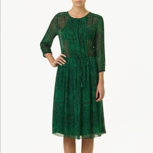 Aritzia Green Silk Python Theo  Dress